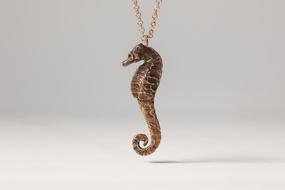 tarnished seahorse . Liplivivé, sculptural jewellery, pieces of art made to wear and love over a lifetime