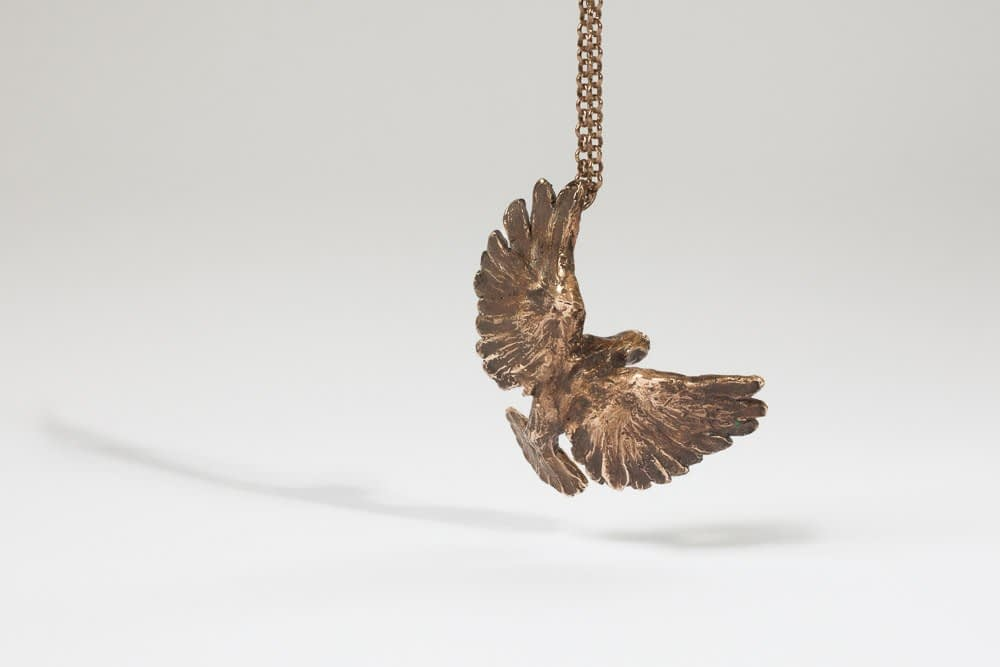tarnished bronze bird . Liplivivé, sculptural jewellery, pieces of art made to wear and love over a lifetime