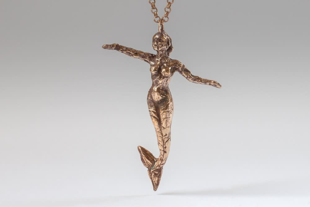 tarnished bronze mermaid . Liplivivé, sculptural jewellery, pieces of art made to wear and love over a lifetime