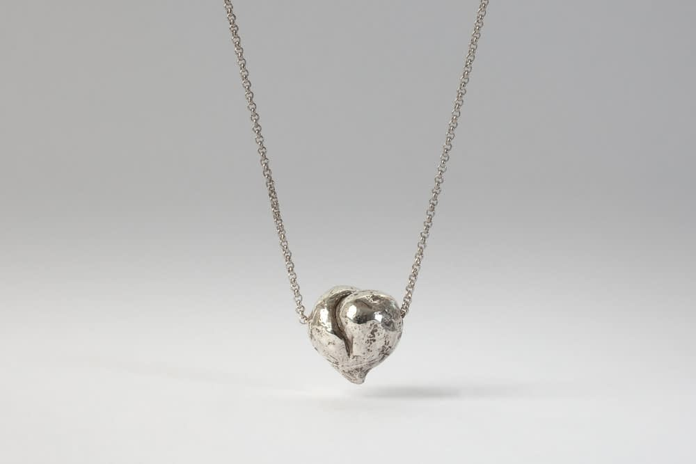 silver heart . Liplivivé, sculptural jewellery, pieces of art made to wear and love over a lifetime